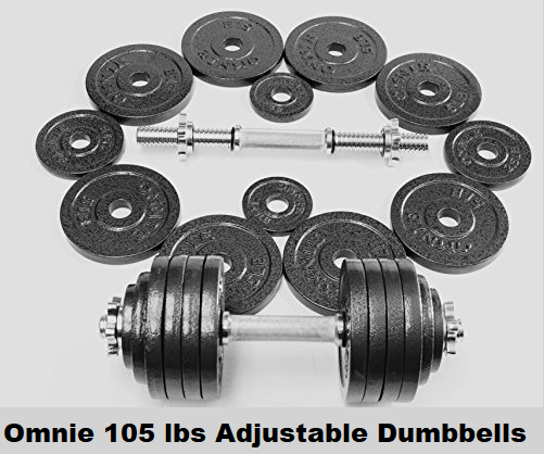 Omnie 105 lbs Adjustable Dumbbells with Gloss Finish and Secure Fit Collars (Pair)