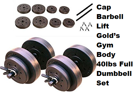 Phumon567 Cap Barbell Lift Gold's Gym Body 40lbs Full Dumbbell Set Arms Adjustable Hand Weights Exercise Workout