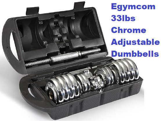 Egymcom 33lbs Chrome Adjustable Dumbbell Set with Storage Case (Pair)
