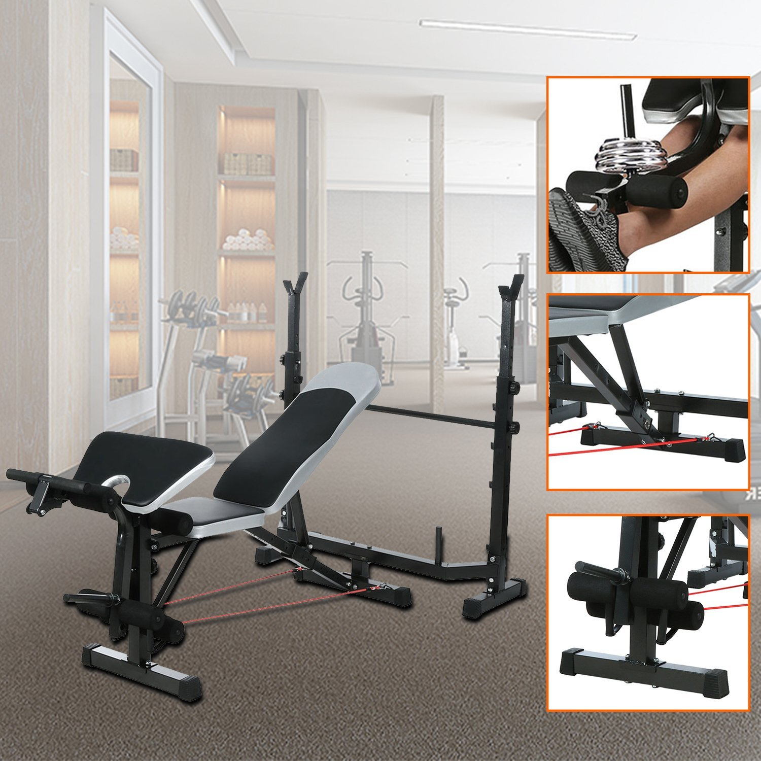 Olympic Weight Bench Amazon with Squat Rack, Preacher Curl and Leg Developer