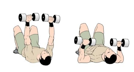 dumbbell bench press on floor