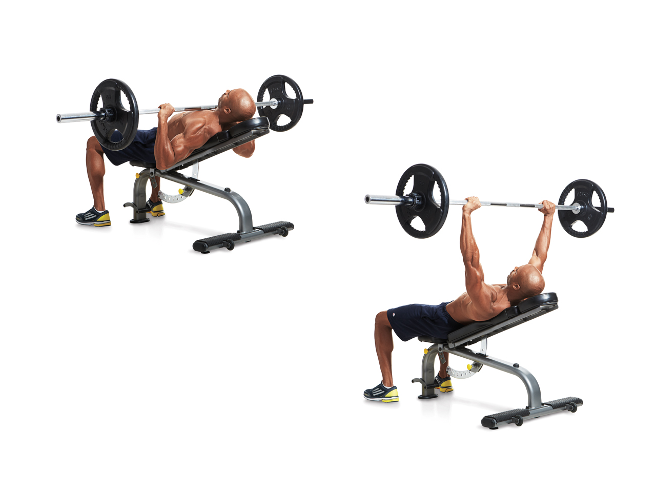 reverse grip incline dumbbell barbell bench press form and angle