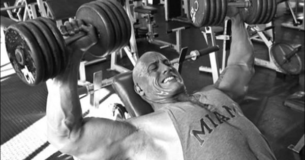 "​Dwayne ""The Rock"" Johnson bench pressing chest workout"