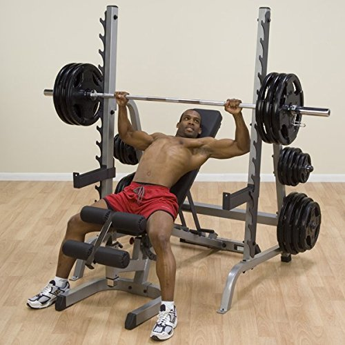Body-Solid GPR370 Extra-heavy duty Multi Press Squat Rack with Olympic Plate Weight Storage