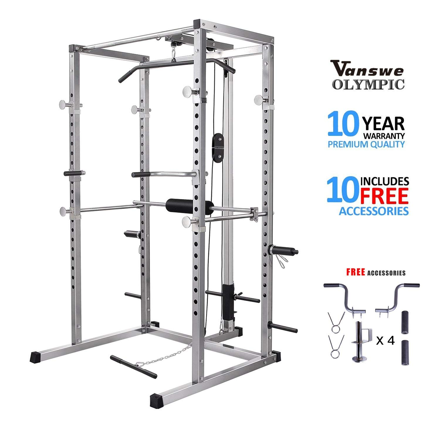 Power Rack with Lat Pull Attachment and Dip Handle Power Cage Home Gym Equipment Exercise Stand Olympic Squat Cage