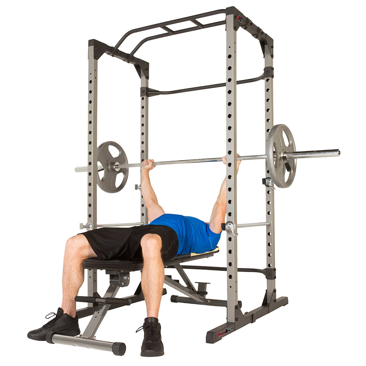 Fitness Reality 810XLT Super Max Power Cage with The 800 lb Capacity with Super Max 1000 Weight Bench Combo