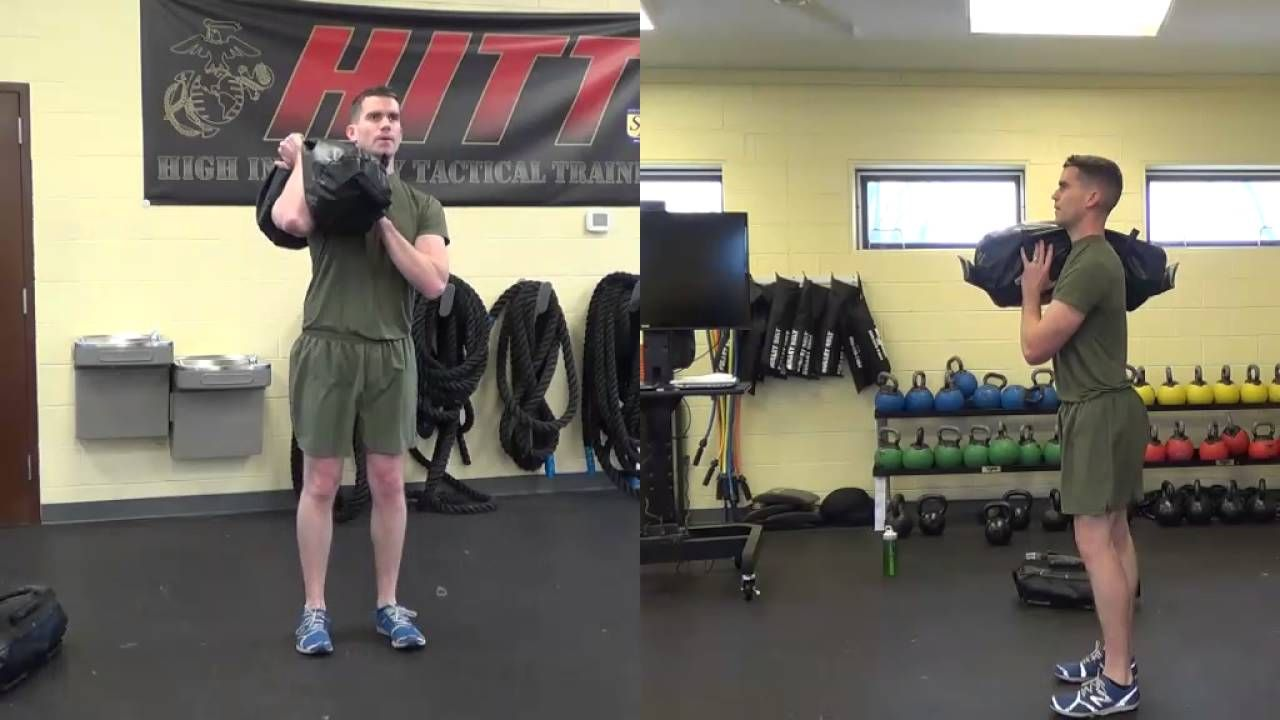 Brute Force Sandbags Workout Single Shoulder Lunge Exercise