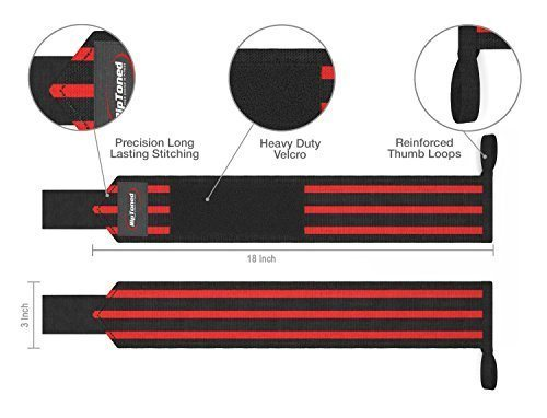 "Rip Toned Wrist Wraps Size - 18"" Professional Grade With Thumb Loops - Wrist Support Braces - Men & Women - Weight Lifting, Crossfit, Powerlifting, Strength Training - Bonus Ebook (Red Medium Stiff) Review Amazon"