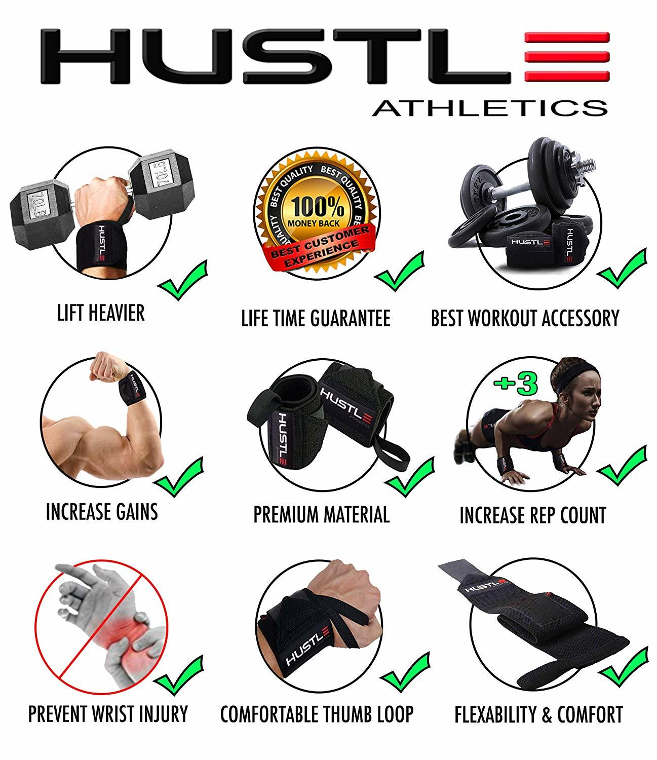 Hustle Athletics Wrist Wraps - Best Support For Weightlifting Bodybuilding & Crossfit - Brace Your Wrists To Train Harder & Reduce Muscle Strain - Comfortable Workout Straps For Men & Women Review Amazon