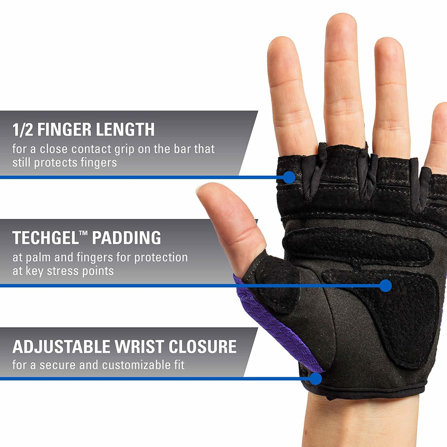 Harbinger Women's FlexFit Wash and Dry Weightlifting Gloves with Padded Leather Palm (Pair)