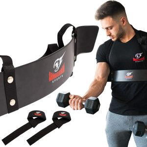 ARMAGEDDON SPORTS Premium Arm Blaster Biceps Isolator + Bonus Weight Lifting Straps, Heavy Duty Bicep Blaster Curl Support Muscle Builder for Triceps/Biceps Workout, Build Bigger Arms
