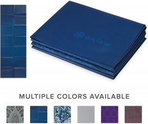 "Gaiam Yoga Mat Folding Travel Fitness & Exercise Mat | Foldable Yoga Mat for All Types of Yoga, Pilates & Floor Workouts | Folds to 12"" x 10"" Square (68""L x 24""W x 2mm Thick)"